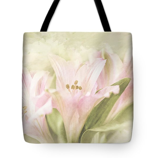 Tote Bag featuring the painting Pink Lilies by Linda Blair