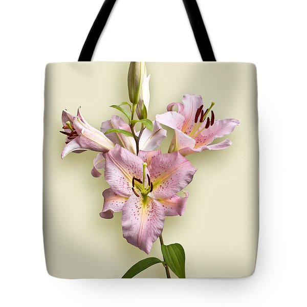 Pink Lilies On Cream Tote Bag by Jane McIlroy