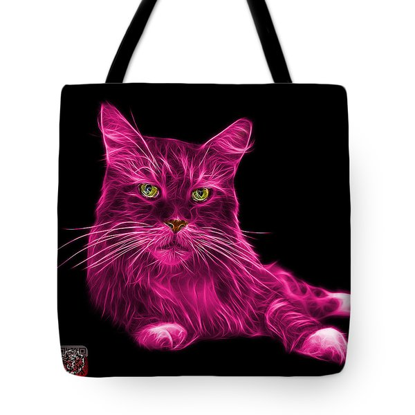 Tote Bag featuring the painting Pink Maine Coon Cat - 3926 - Bb by James Ahn