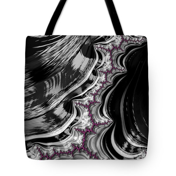 Pink On Black And White Fractal Abstract Tote Bag