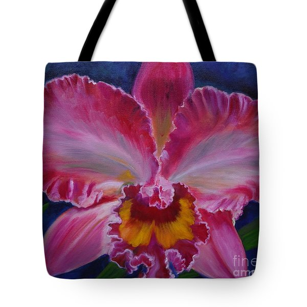 Tote Bag featuring the painting Pink Orchid by Jenny Lee