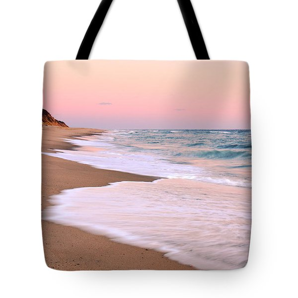 Pink Pastel Beach And Sky Tote Bag by Roupen  Baker