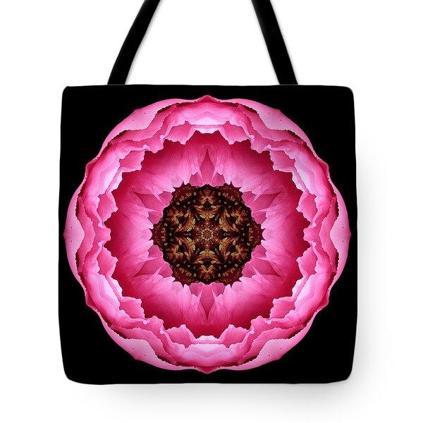 Pink Peony Flower Mandala Tote Bag by David J Bookbinder