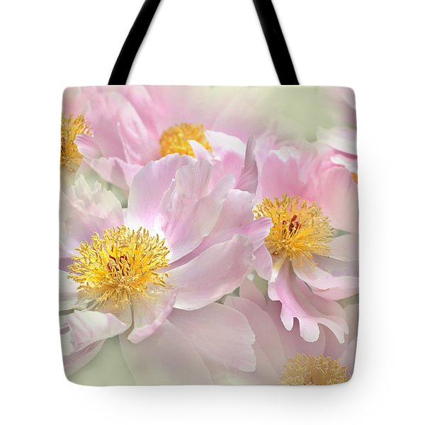 Pink Peony Flowers Parade Tote Bag by Jennie Marie Schell