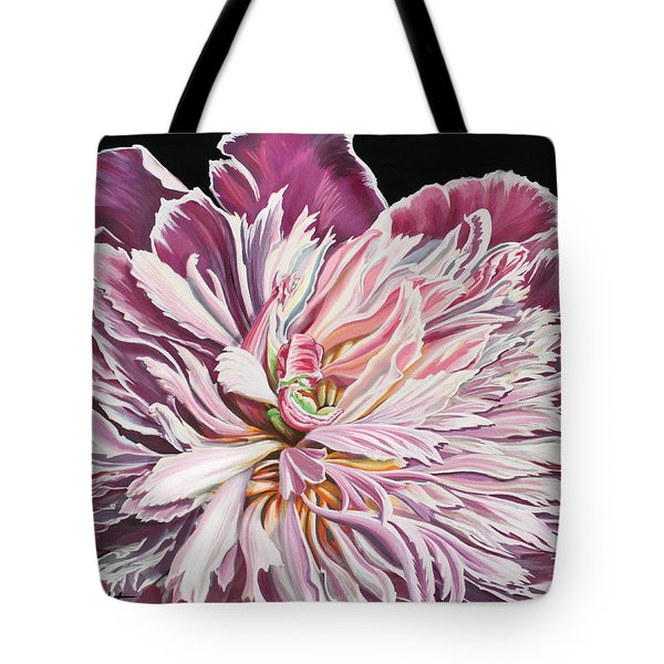 Tote Bag featuring the painting Pink Peony by Jane Girardot