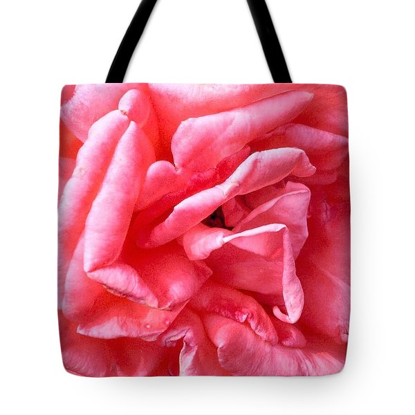 Tote Bag featuring the photograph Pink Petals Up Close Rose Art Photo by Marianne Dow