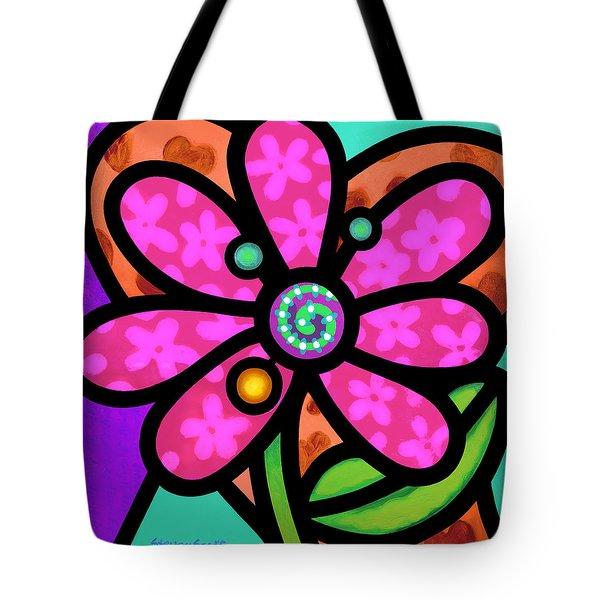 Pink Pinwheel Daisy Tote Bag
