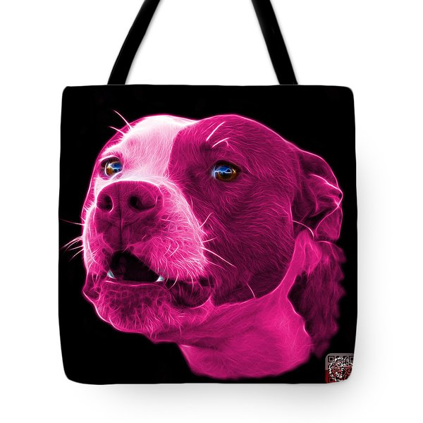 Tote Bag featuring the mixed media Pink Pitbull Dog 7769 - Bb - Fractal Dog Art by James Ahn