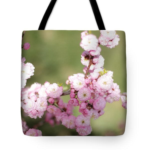 Pink Plum Branch On Green 2 Tote Bag