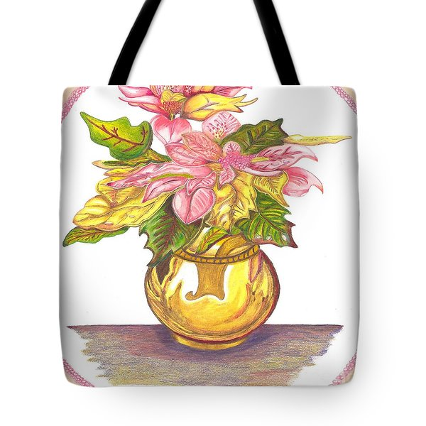 Pink Poinsettia Plant Tote Bag