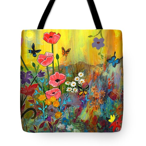 Tote Bag featuring the painting Pink Poppies In Paradise by Robin Maria Pedrero