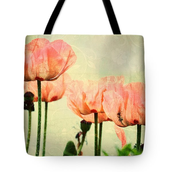 Tote Bag featuring the photograph Pink Poppies In The Garden by Peggy Collins