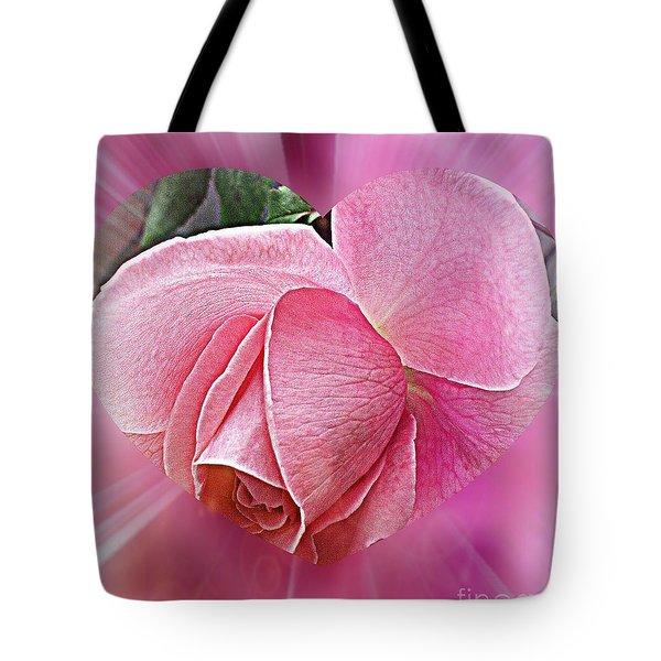 Pink Ribbons Of Light Tote Bag by Judy Palkimas