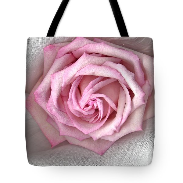 Pink Rose And Linen Tote Bag by Sandra Foster