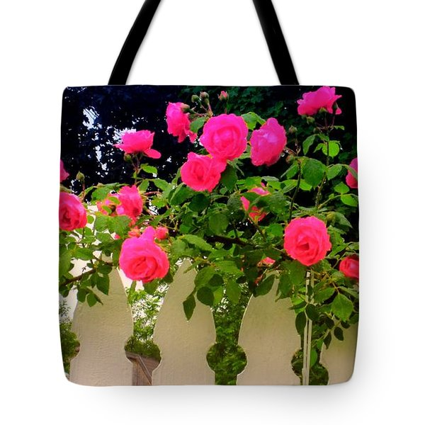 Pink Rose Pickets Tote Bag by Margaret Newcomb