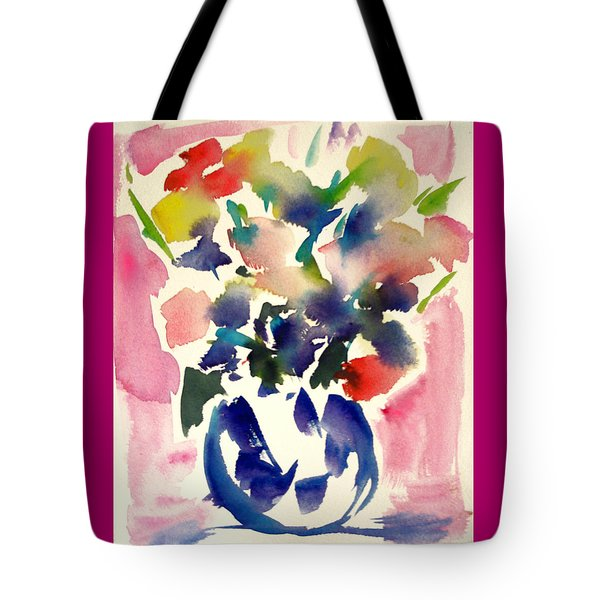 Pink Roses In A Blue Vase Tote Bag by Tolere