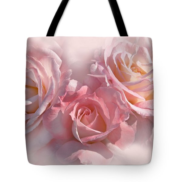 Pink Roses In The Mist Tote Bag by Jennie Marie Schell