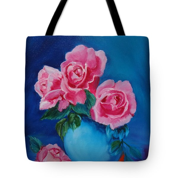 Pink Roses Tote Bag by Jenny Lee