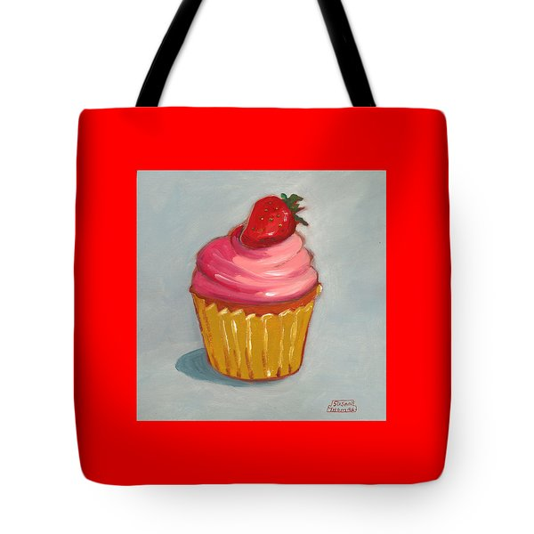Pink Strawberry Cupcake Tote Bag