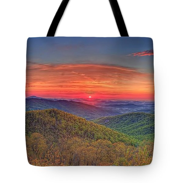 Pink Sunrise At Skyline Drive Tote Bag