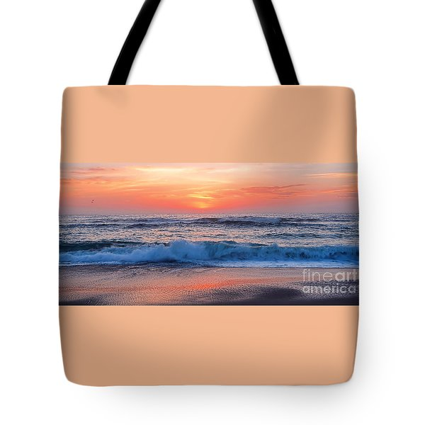 Pink Sunrise Panorama Tote Bag by Kaye Menner