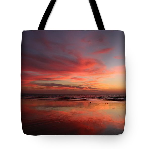 Ocean Sunset Reflected  Tote Bag