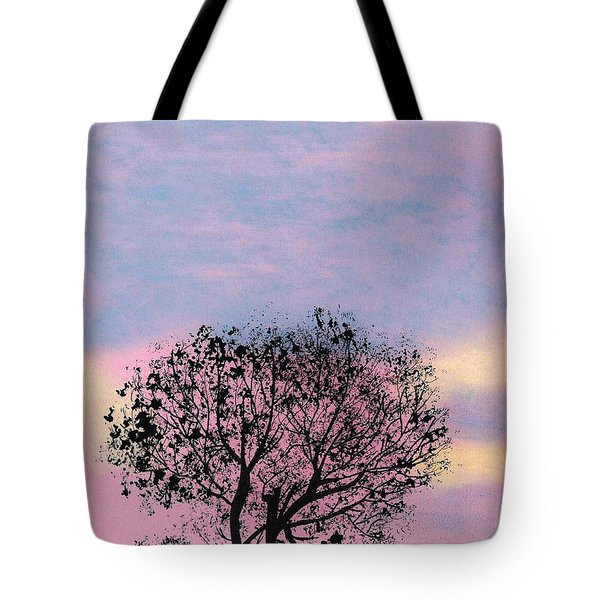 Tote Bag featuring the drawing Pink Sunset by D Hackett