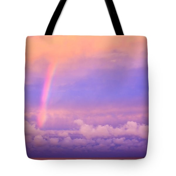 Tote Bag featuring the photograph Pink Sunset Rainbow by Peta Thames