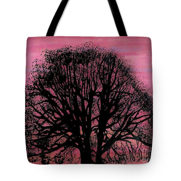 Tote Bag featuring the drawing Pink Sunset Tree by D Hackett