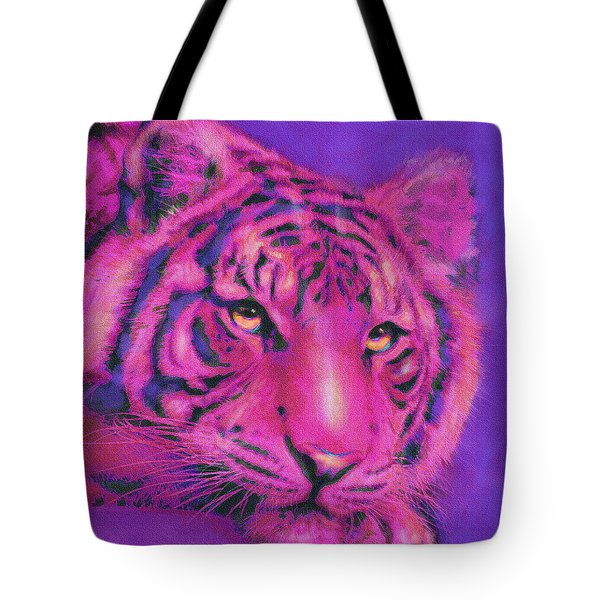 Tote Bag featuring the digital art Pink Tiger by Jane Schnetlage