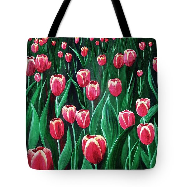 Pink Tulip Field Tote Bag by Anastasiya Malakhova
