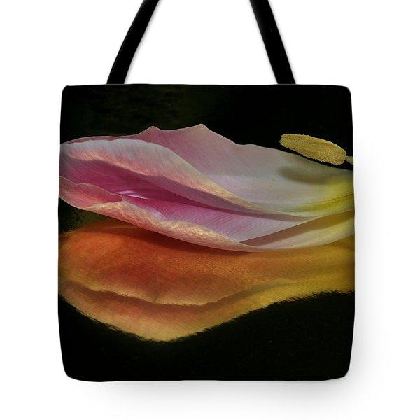 Pink Tulip Petal Reflected On Black Tote Bag