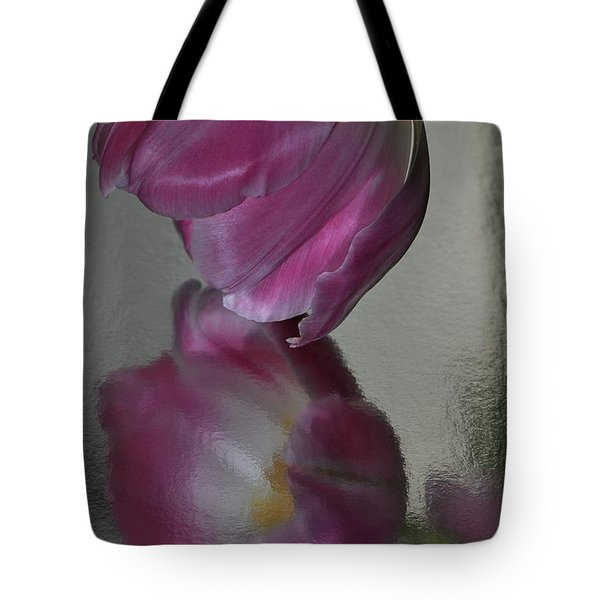 Pink Tulip Reflected In Silver Water Tote Bag