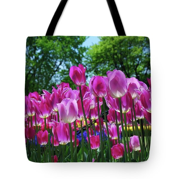 Tote Bag featuring the photograph Pink Tulips by Allen Beatty