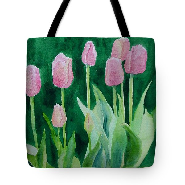 Pink Tulips Colorful Flowers Garden Art Original Watercolor Painting Artist K. Joann Russell Tote Bag
