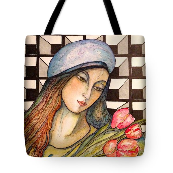 Pink Tulips Tote Bag by Rae Chichilnitsky