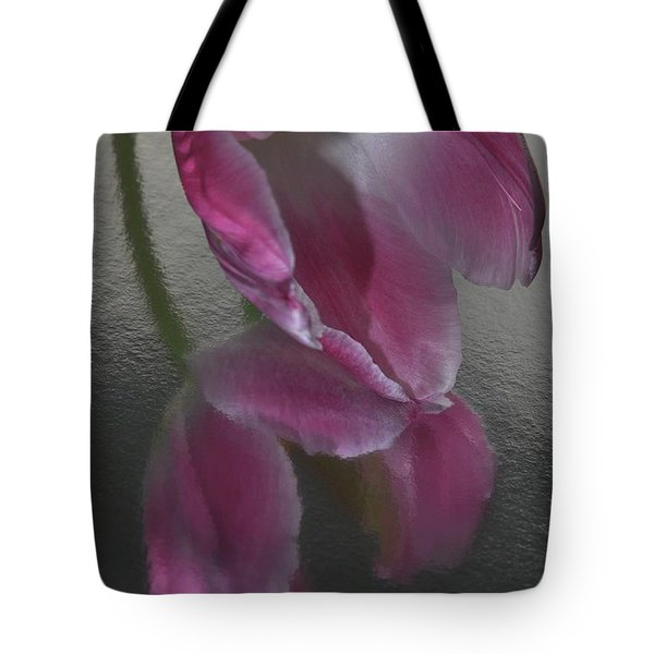 Pink Tulip Reflection In Silver Water Tote Bag