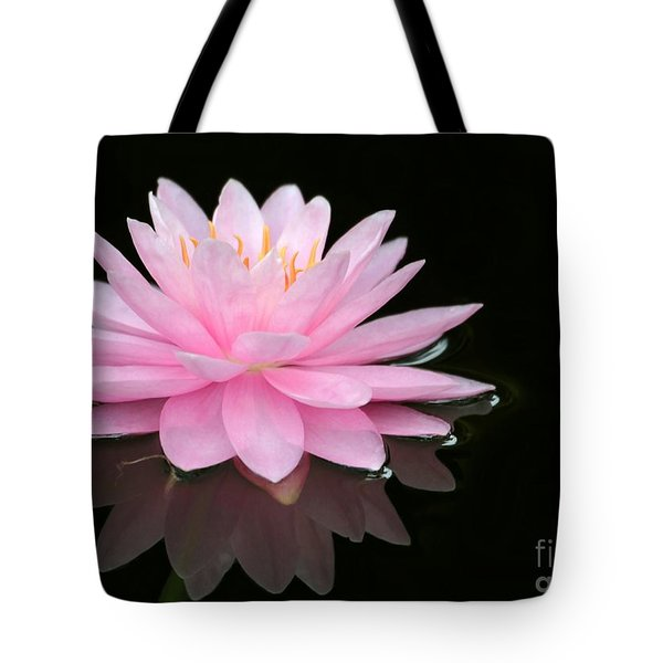 Pink Water Lily In A Dark Pond Tote Bag