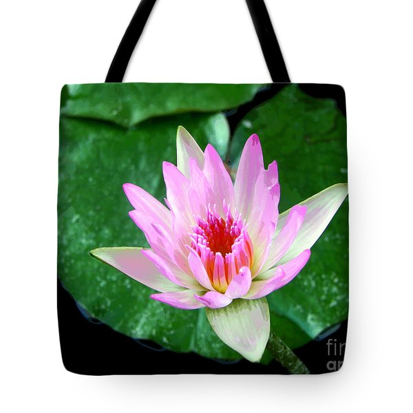 Tote Bag featuring the photograph Pink Waterlily Flower by David Lawson
