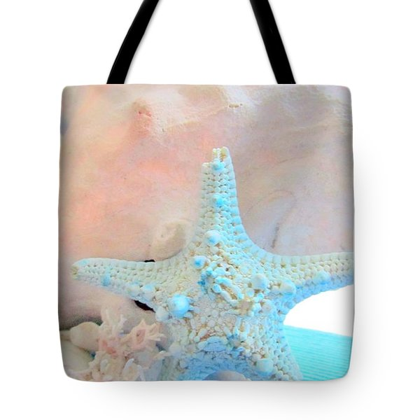 Pink White And Blue Conch And Sea Shells  Tote Bag by Danielle  Parent