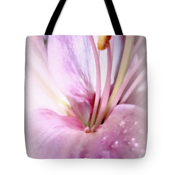 Pink Wisper Lily With Droplets Tote Bag