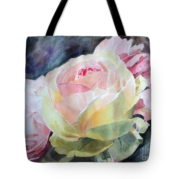 Pink Yellow Rose Angela Tote Bag