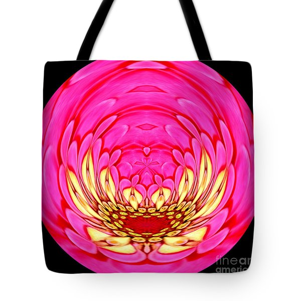 Tote Bag featuring the photograph Pink Zinnia Polar Coordinate 2 by Rose Santuci-Sofranko