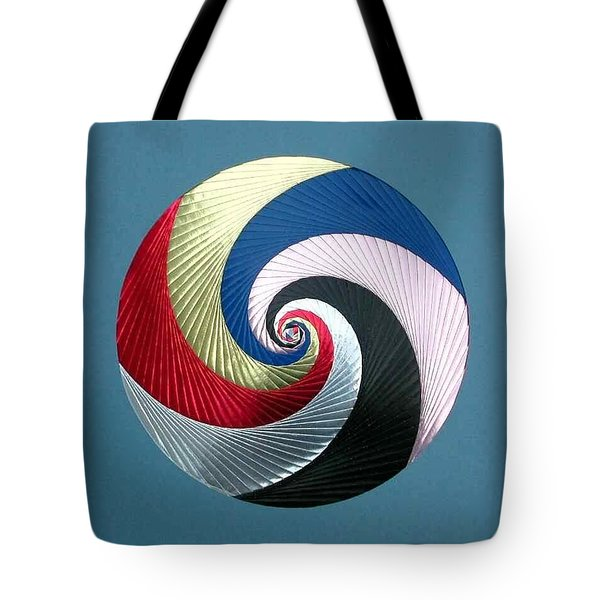 Tote Bag featuring the mixed media Pinwheel by Ron Davidson