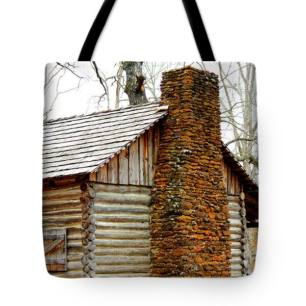 Pioneer Log Cabin Chimney Tote Bag by Kathy  White