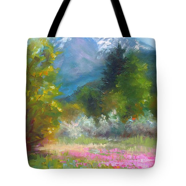Pioneer Peaking - Flowers And Mountain In Alaska Tote Bag