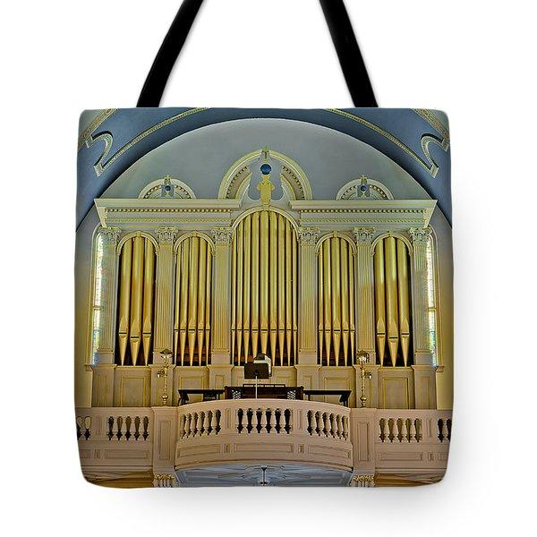 Pipe Organ At Saint Michaels Tote Bag by Susan Candelario