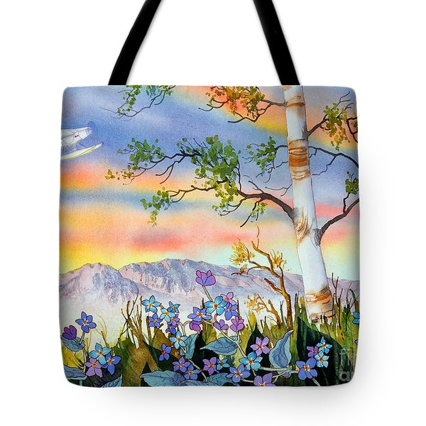 Tote Bag featuring the painting Piper Cub Over Sleeping Lady by Teresa Ascone