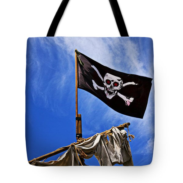 Pirate Flag On Ships Mast Tote Bag