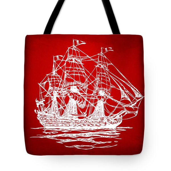Pirate Ship Artwork - Red Tote Bag by Nikki Marie Smith